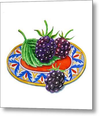 Blackberries Metal Print by Irina Sztukowski