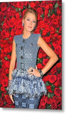 Blake Lively Wearing A Chanel Couture Metal Print by Everett