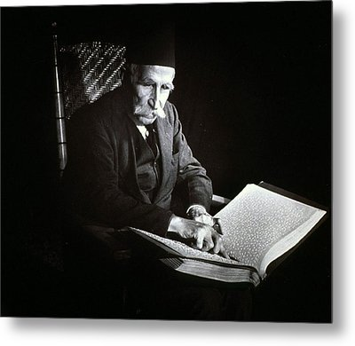 Blind Man Reading A Braille Book, Ca Metal Print by Everett