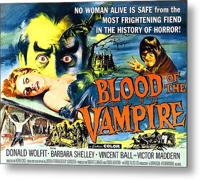 Blood Of The Vampire, Girl On Table Metal Print by Everett