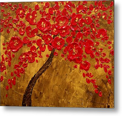 'blossom' Original Impasto Palette Knife Abstract Painting Cherry Tree Metal Print by Aboli Salunkhe