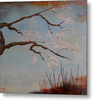 Blossoms Over The Lake Metal Print by Catherine JN Christopher