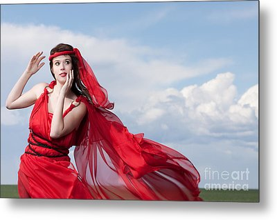 Blown Away Woman In Red Series Metal Print by Cindy Singleton