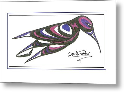 Blue And Purple Humming Bird Metal Print by Speakthunder Berry