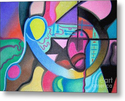 Metal Print featuring the drawing Blue And Yellow Curve by Christine Perry