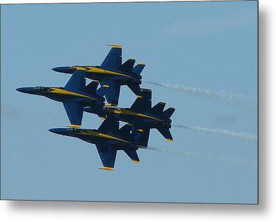 Metal Print featuring the photograph Blue Angels Diamond From Right by Samuel Sheats