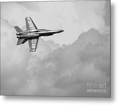 Blue Angels In The Cloud . Black And White Photograph Metal Print by Wingsdomain Art and Photography
