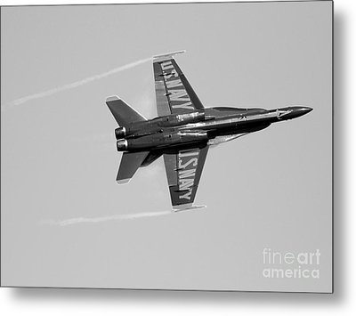 Blue Angels With Wing Vapor . Black And White Photo Metal Print by Wingsdomain Art and Photography