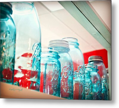 Blue Ball Canning Jars Metal Print by Paulette B Wright