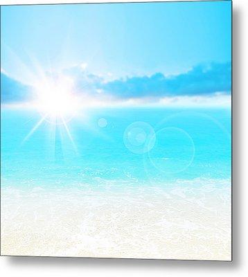 Blue Beach Background Metal Print by Anna Om