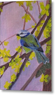 Metal Print featuring the painting Blue Bird by Christy Saunders Church