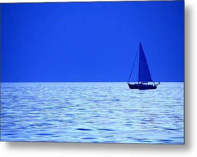 Metal Print featuring the photograph Blue Boat by Coby Cooper