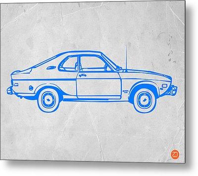 Blue Car Metal Print by Naxart Studio