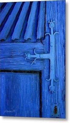 Blue Church Door Metal Print