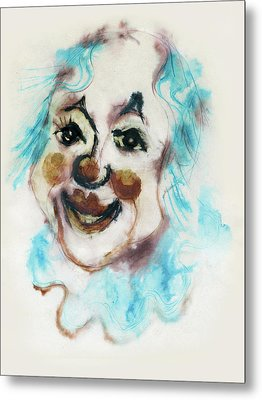 Blue Collar Clown Face With Red Nose And Lips Raised Eyebrows Smile   Metal Print by Rachel Hershkovitz