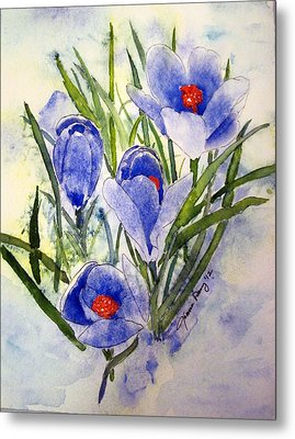 Blue Crocus In The Snow Metal Print by Joann Perry