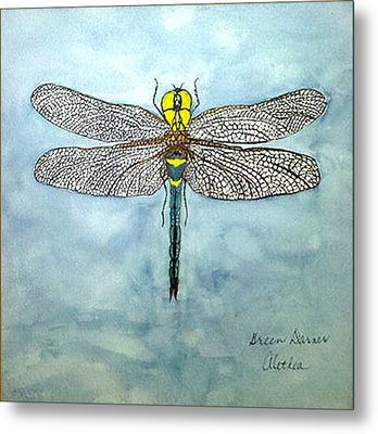 Metal Print featuring the painting Blue Darner by Alethea McKee
