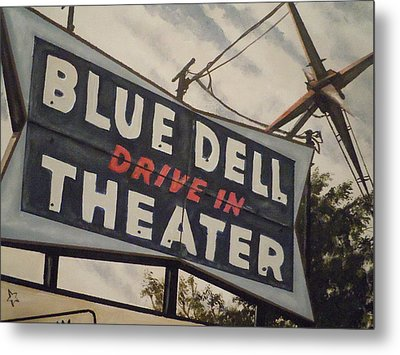 Blue Dell Drive In Theater Metal Print