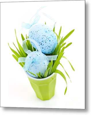 Blue Easter Eggs And Green Grass Metal Print by Elena Elisseeva