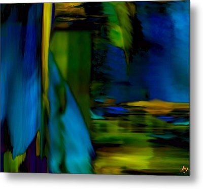 Blue Feather Reflections Metal Print by Mathilde Vhargon