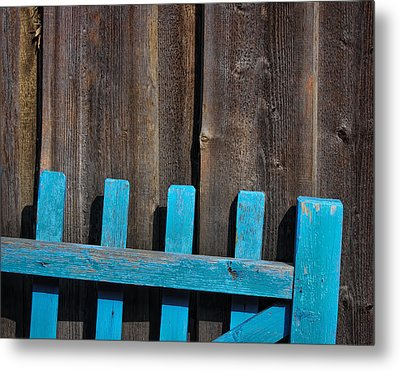 Blue Fence Metal Print