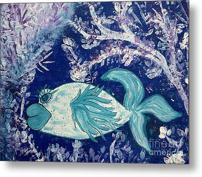 Blue Fish Called Flow Metal Print