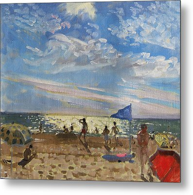 Blue Flag And Red Sun Shade Metal Print by Andrew Macara