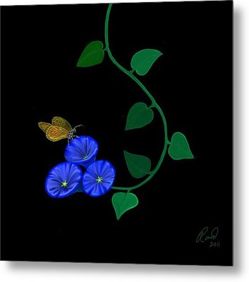 Blue Flower Butterfly Metal Print by Rand Herron