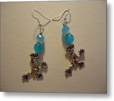 Blue Frog Earrings Metal Print