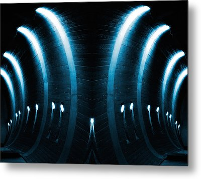 Blue Glowing Arches Metal Print