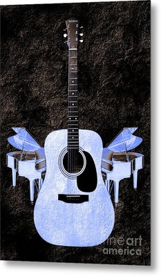 Blue Guitar Butterfly Metal Print by Andee Design