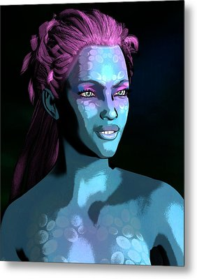 Metal Print featuring the digital art Blue Halo by Maynard Ellis