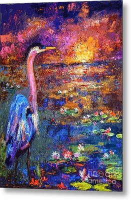 Blue Heron Sunset Metal Print by Ginette Callaway