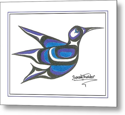 Blue Humming Bird Metal Print by Speakthunder Berry