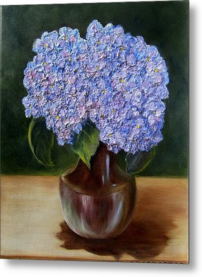 Metal Print featuring the painting Blue Hydrangea  by Susan Dehlinger