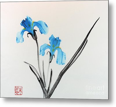 Metal Print featuring the painting Blue Iris I by Yolanda Koh