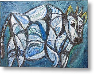 Blue Jeweled Cattle Metal Print by Kazuya Akimoto