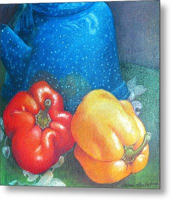 Blue Kettle With Peppers Metal Print