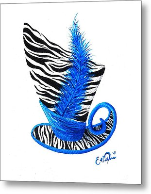 Blue Magic Hat Metal Print by Oddball Art Co by Lizzy Love