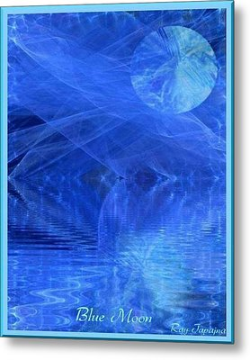 Blue Moon Healing In Blue Metal Print by Ray Tapajna