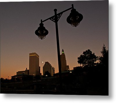 Metal Print featuring the photograph Blue Moon Over Downtown Providence 1 by Nancy De Flon