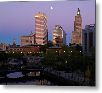 Metal Print featuring the photograph Blue Moon Over Downtown Providence 2 by Nancy De Flon