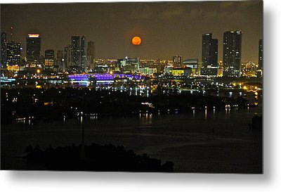 Blue Moon Over Miami Metal Print by Ronald  Bell