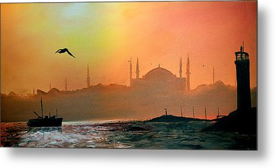 Blue Mosque At Sunset Metal Print
