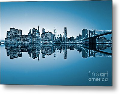 Metal Print featuring the photograph Blue New York City by Luciano Mortula