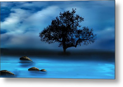 Metal Print featuring the mixed media Blue Night by Katy Breen