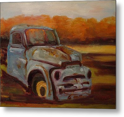 Metal Print featuring the painting Blue Pickup by Carol Berning