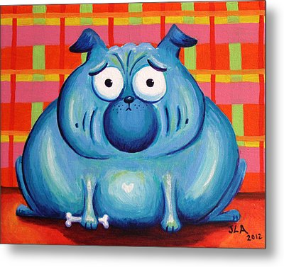 Blue Pudgy Pug Metal Print by Jennifer Alvarez