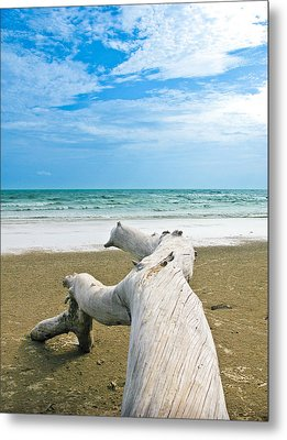 Blue Sea And Sky With Log On The Beach Metal Print by Nawarat Namphon