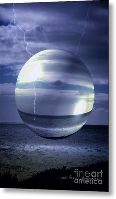 Metal Print featuring the photograph Blue Sea Hover Bubble by Vicki Ferrari